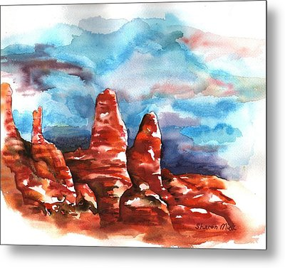 Metal Print featuring the painting Desert Sentries by Sharon Mick