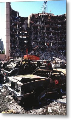 Destroyed Automobiles Near The Bombed Metal Print by Everett