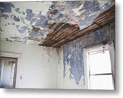 Deteriorating Ceiling In An Abandoned House Metal Print by Jetta Productions, Inc
