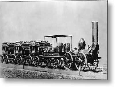 Dewitt Clinton Locomotive And Cars Metal Print by Omikron
