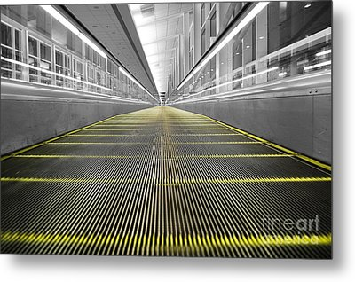 Metal Print featuring the photograph Dfw Airport Walkway Perspective Color Splash Black And White by Shawn O'Brien