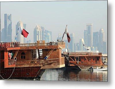 Dhows And Doha Skyline Metal Print by Paul Cowan