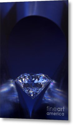 Diamond In Deep-blue Light Metal Print by Atiketta Sangasaeng