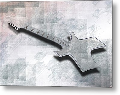 Digital-art E-guitar IIi Metal Print by Melanie Viola