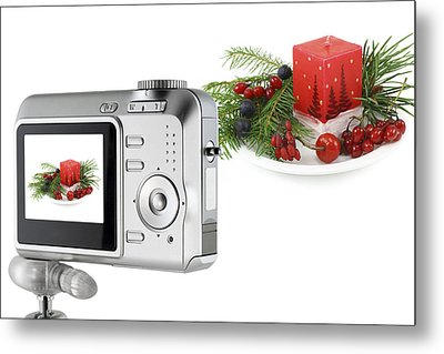 Metal Print featuring the photograph Digital Camera And A Christmas Bouquet Collage by Aleksandr Volkov