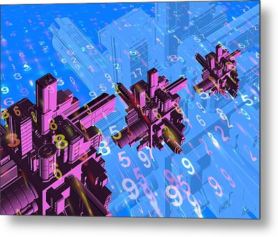 Digital Communication, Conceptual Image Metal Print by Victor Habbick Visions