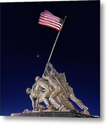 Digital Drawing - Iwo Jima Memorial At Dusk Metal Print by Metro DC Photography