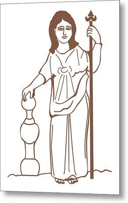 Digital Illustration Of Ancient Gaulish Goddess Of Nature Nantosuelta Metal Print by Dorling Kindersley