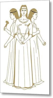 Digital Illustration Of Celtic Triple Goddess Brigit Holding Snakes Rising From Flames Metal Print by Dorling Kindersley