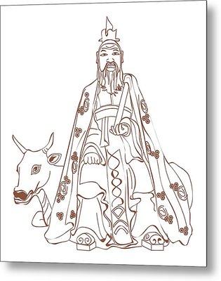 Digital Illustration Of Chinese Philosopher Confucius Sitting On Cow Metal Print by Dorling Kindersley