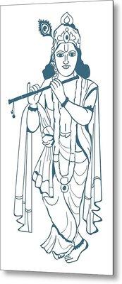 Digital Illustration Of Vishnu Playing Flute Metal Print by Dorling Kindersley