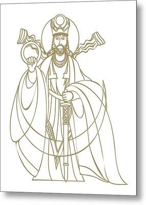 Digital Illustration Of Zoroastrian Deity Kshathra Vairya Metal Print by Dorling Kindersley