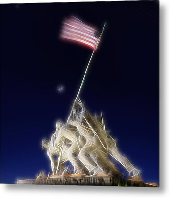 Metal Print featuring the photograph Digital Lightening - Iwo Jima Memorial by Metro DC Photography