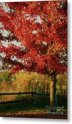 Digital Painting Maple Tree In Full Color Metal Print by Sandra Cunningham