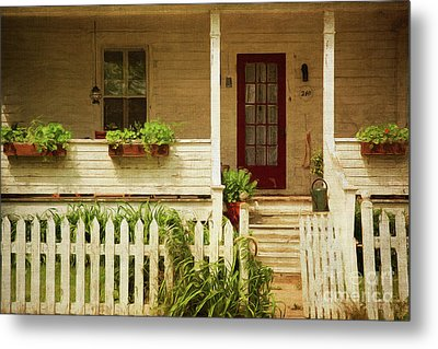 Digital Painting Of Front Porch Rural Farmhouse Metal Print by Sandra Cunningham