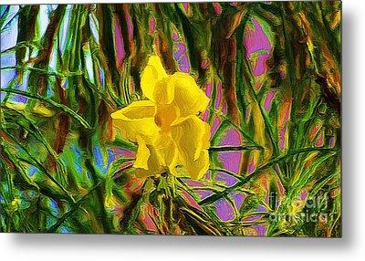 Metal Print featuring the digital art Digital Painting Of Yellow Orchid by John  Kolenberg