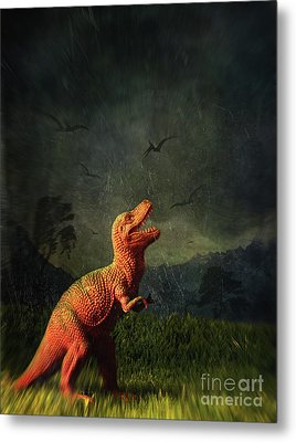 Dinosaur Toy Figure In Surreal Landscape Metal Print by Sandra Cunningham