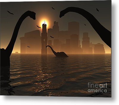 Dinosaurs Feed Near The Shores Metal Print by Mark Stevenson