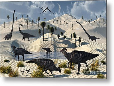 Dinosaurs Gather At A Life Saving Oasis Metal Print by Mark Stevenson