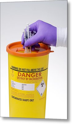 Disposal Of Contaminated Sharps Metal Print by Paul Rapson