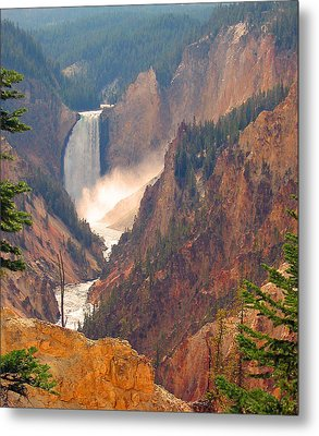 Distant Thunder-lower Waterfall Of Yellowstone Metal Print