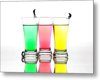 Diving In Colorful Water Metal Print by Paul Ge