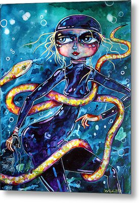 Diving With Serpent Metal Print by Leanne Wilkes