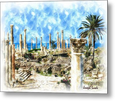 Do-00550 Ruins And Columns Metal Print by Digital Oil