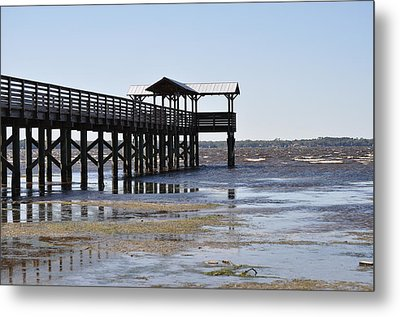 Dock At Low Tide Metal Print by Tiffney Heaning