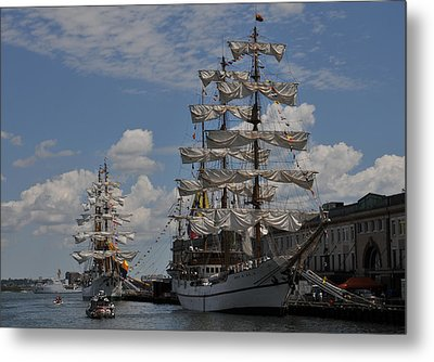 Docked At Fish Pier Metal Print by Mike Martin