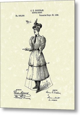 Dockham Bicycle Skirt 1896 Patent Art  Metal Print