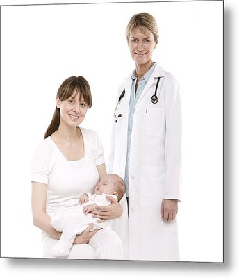 Doctor,mother And Baby Metal Print by