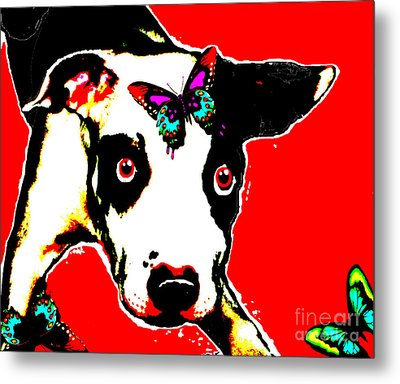 Metal Print featuring the painting Dog And Butterfly by Jann Paxton