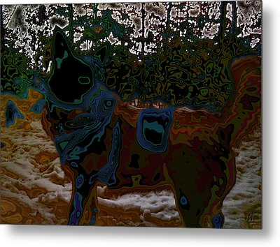 dog in snow - not by Hundertwasser II Metal Print