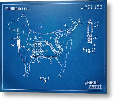 Doggie Vacuum Patent Artwork Metal Print by Nikki Marie Smith