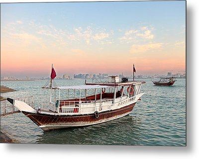 Doha Bay Qatar Sunset Metal Print by Paul Cowan