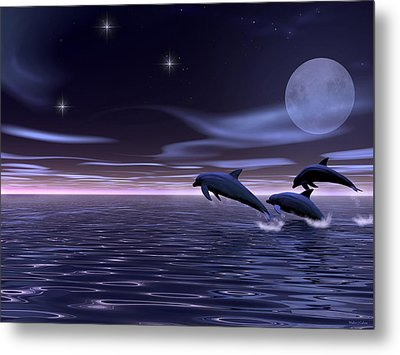 Metal Print featuring the digital art Dolphin Moon. by Walter Colvin
