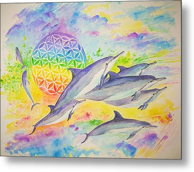 Dolphins-color Metal Print by Tamara Tavernier