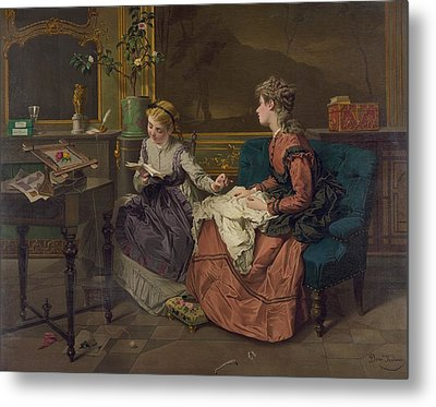 Domestic Scene With Two Girls, One Metal Print by Everett