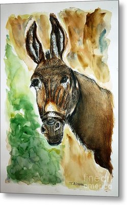 Metal Print featuring the painting Donkey by Therese Alcorn