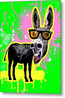 Donkey Wearing Sunglasses, Laughing Metal Print by New Vision Technologies Inc