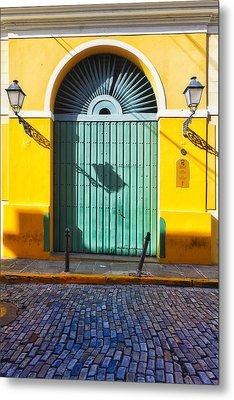 Door And Cobblestone Street In Old San Juan Metal Print by George Oze