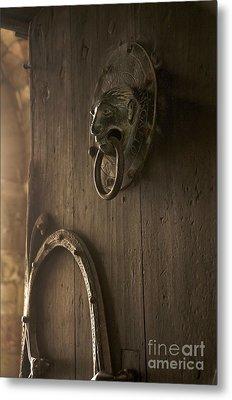 Door Knocker Of The Basilica Saint-julien. Brioude. Haute Loire. Auvergne. France. Metal Print by Bernard Jaubert
