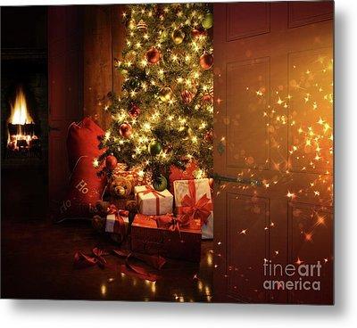 Door Opening Onto Nostalgic Christmas Scene   Metal Print by Sandra Cunningham
