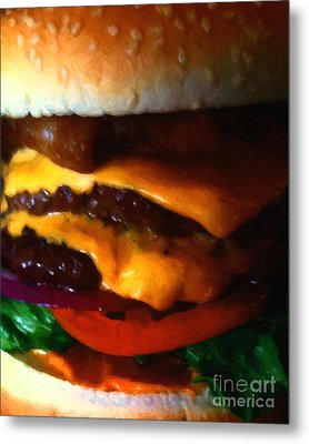 Double Cheeseburger With Bacon - Painterly Metal Print by Wingsdomain Art and Photography