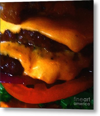 Double Cheeseburger With Bacon - Square - Painterly Metal Print by Wingsdomain Art and Photography