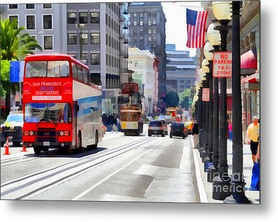 Double Decker Sightseeing Bus Along Powell Street In San Francisco California . 7d7269 Metal Print by Wingsdomain Art and Photography