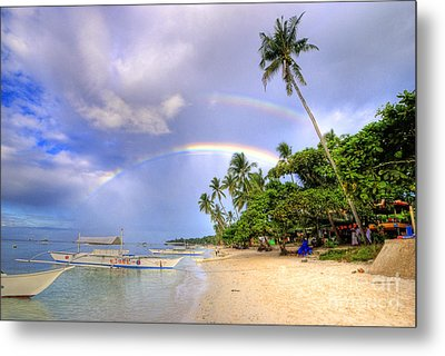 Double Rainbow At The Beach Metal Print by Yhun Suarez