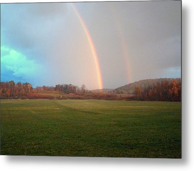 Double Rainbow In The Valley Metal Print by Mark Haley