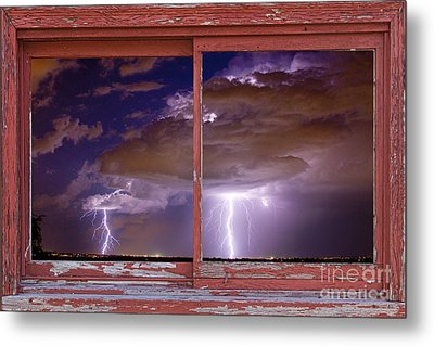 Double Trouble Lightning Picture Red Rustic Window Frame Photo A Metal Print by James BO  Insogna